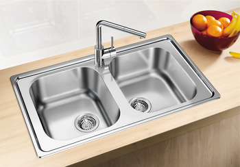 Sink, Stainless steel, Blanco dinas, double bowl