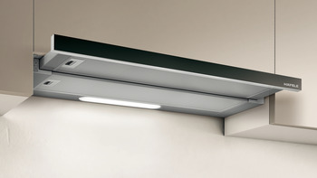 Slide-out hood , Stainless steel, electronic soft touch control, 90 cm