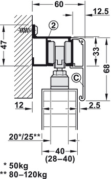 Sliding door fitting, Slido Classic 50-P to 120-P, set without running track
