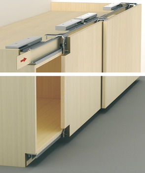 Sliding door fitting, Slido F-Line43 70A, basic fitting set