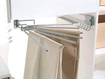Trouser rack, swivelling, for 7 trousers, width 430 mm