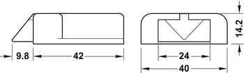 Universal door contact switch, Häfele Loox, modular design, for snap-in connector